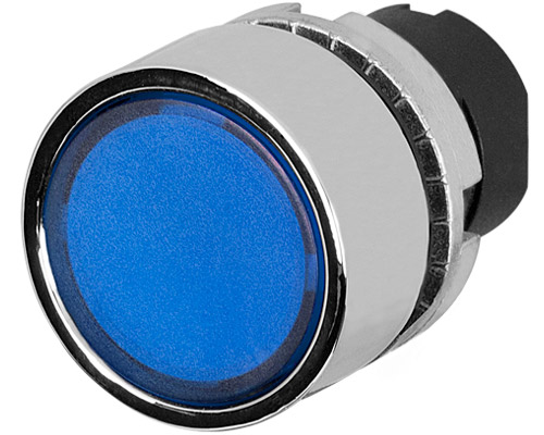 guarded push button illuminated blue metal