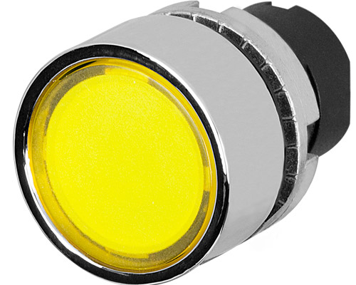 guarded push button illuminated yellow metal