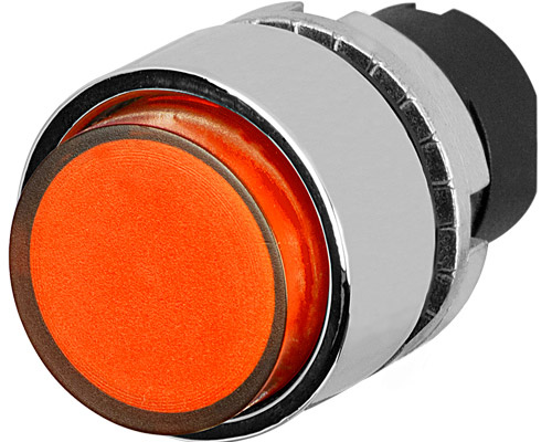 projecting push button illuminated orange metal