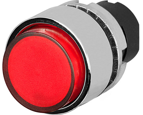 projecting push button illuminated red metal