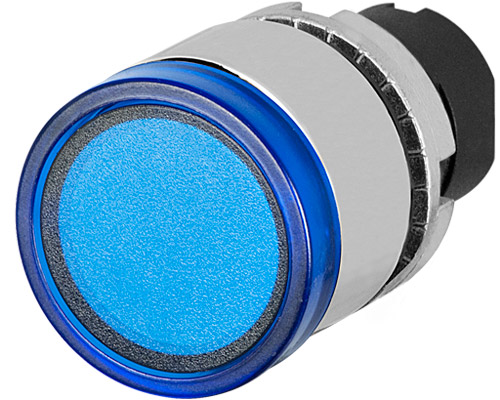 push button full guard illuminated blue  metal