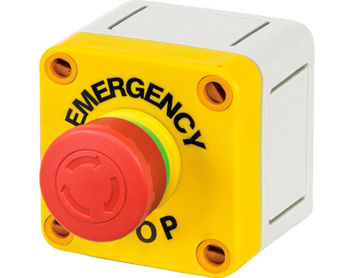 Emergency stop push-button enclosure 65x65 mm